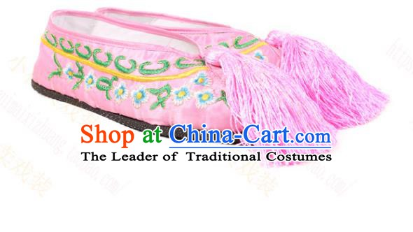 Asian Chinese Beijing Opera Actress Pink Embroidered Shoes, Traditional China Peking Opera Diva Hanfu Shoes