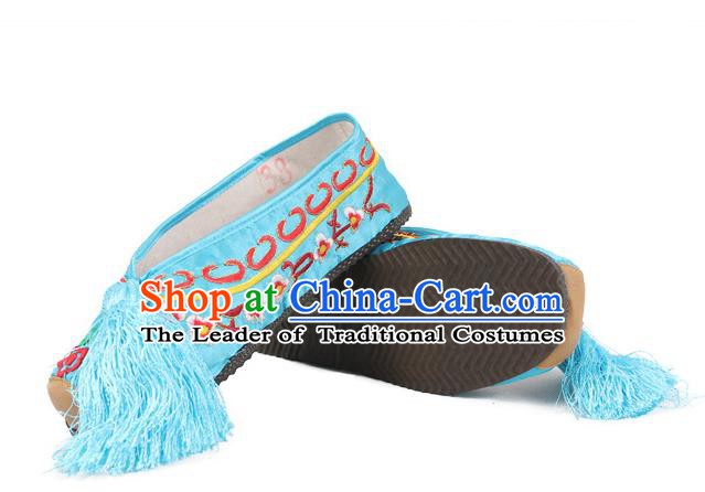 Asian Chinese Beijing Opera Actress Blue Embroidered Shoes, Traditional China Peking Opera Diva Hanfu Shoes