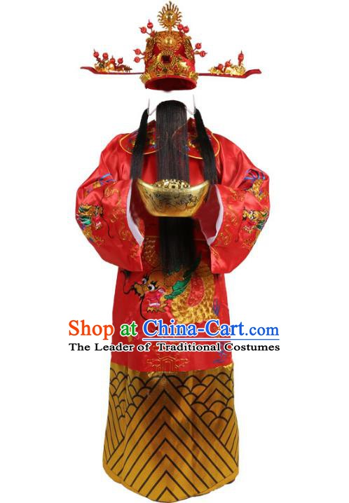 Chinese Beijing Opera God of Wealth Embroidered Costume, China Peking Opera Mammon Embroidery Clothing