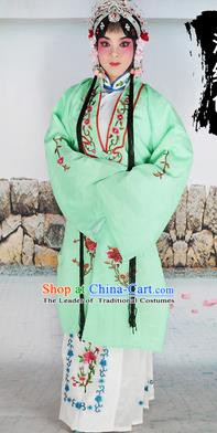 Chinese Beijing Opera Actress Costume Light Green Embroidered Cape, Traditional China Peking Opera Diva Embroidery Clothing