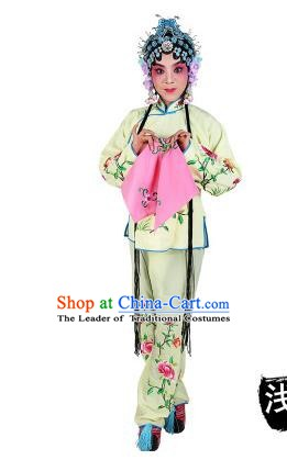 Chinese Beijing Opera Servant Girl Embroidered Light Yellow Costume, China Peking Opera Actress Embroidery Clothing