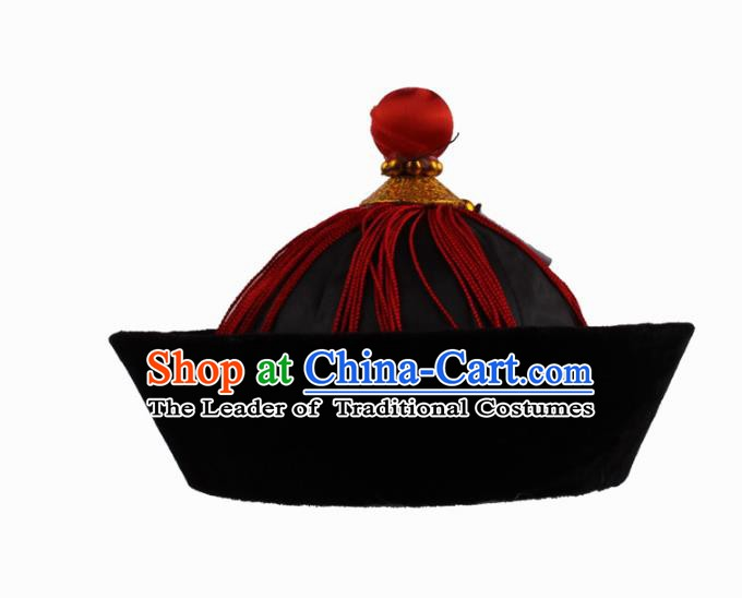 Asian Chinese Beijing Opera Qing Dynasty Minister Hat, Traditional China Peking Opera Eunuch Headwear
