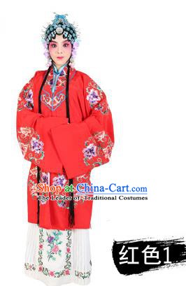Chinese Beijing Opera Young Lady Embroidered Peony Costume, China Peking Opera Actress Embroidery Red Clothing