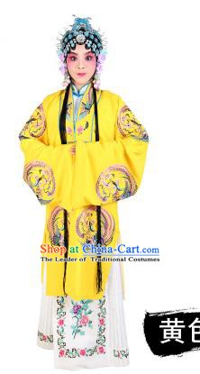 Chinese Beijing Opera Young Lady Embroidered Peony Costume, China Peking Opera Actress Embroidery Yellow Clothing