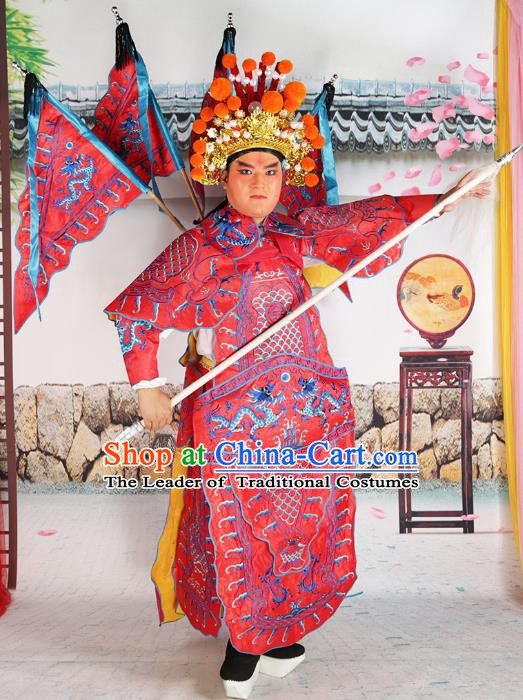 Chinese Beijing Opera General Costume Red Embroidered Robe, China Peking Opera Warrior Embroidery Gwanbok Clothing