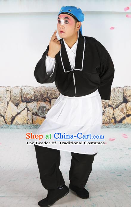 Chinese Beijing Opera Waiter Black Costume, China Peking Opera Clown Clothing