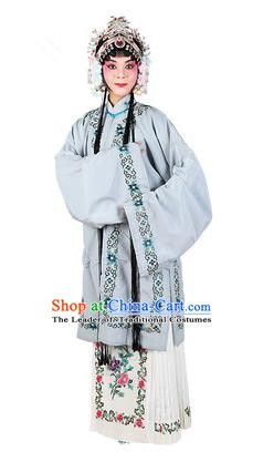 Chinese Beijing Opera Actress Costume Grey Embroidered Cape, Traditional China Peking Opera Nobility Lady Embroidery Clothing
