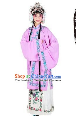 Chinese Beijing Opera Actress Costume Embroidered Purple Cape, Traditional China Peking Opera Nobility Lady Embroidery Clothing