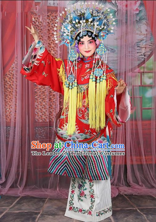 Chinese Beijing Opera Actress Costume Imperial Concubine Embroidered Cape, Traditional China Peking Opera Diva Embroidery Clothing