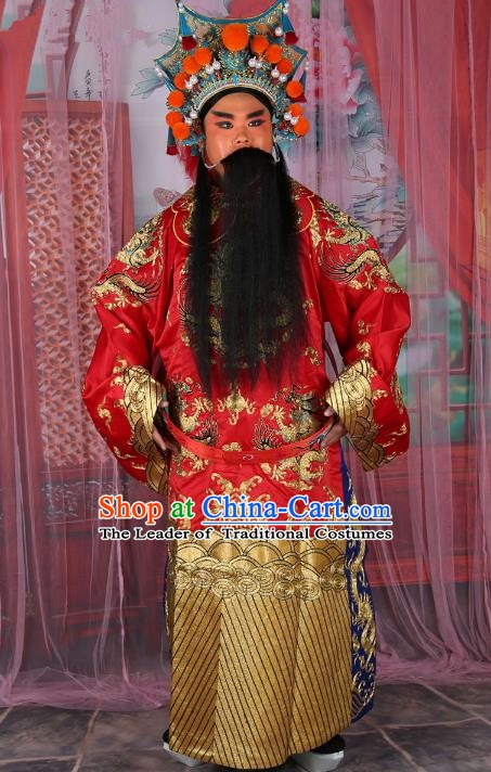Chinese Beijing Opera Bao Zheng Costume Red Embroidered Robe, China Peking Opera Prime Minister Embroidery Gwanbok Clothing