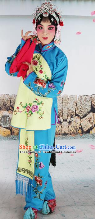 Chinese Beijing Opera Actress Embroidered Costume, China Peking Opera Diva Servant Girl Embroidery Clothing