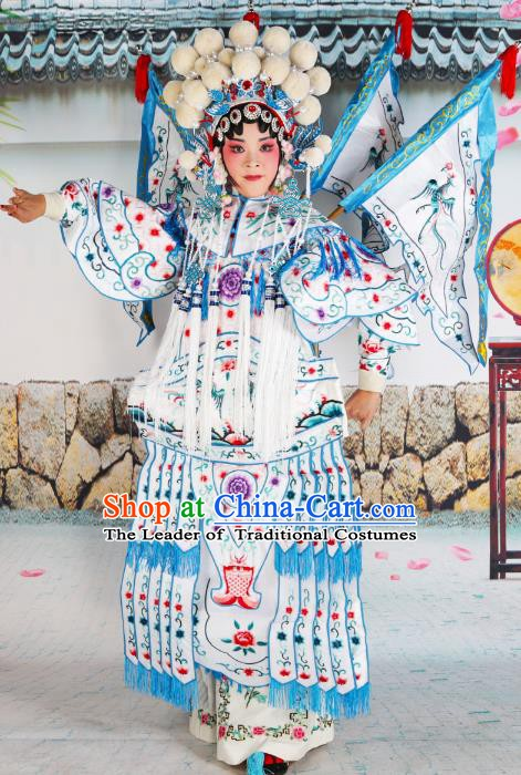 Chinese Beijing Opera Female General White Embroidered Costume, China Peking Opera Blues Embroidery Clothing