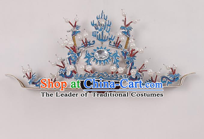 Asian Chinese Beijing Opera Prime Minister White Hat, Traditional China Peking Opera Chancellor Hats Headwear