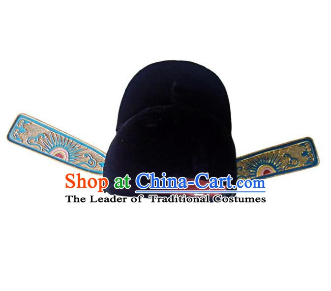 Asian Chinese Beijing Opera County Magistrate Black Hats, Traditional China Peking Opera Lang Scholar Headwear