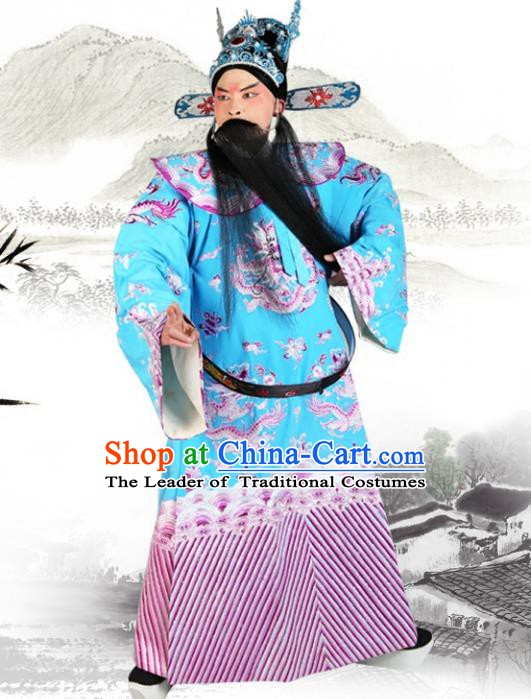 Chinese Beijing Opera Royal Highness Costume Blue Embroidered Robe, China Peking Opera Prime Minister Embroidery Gwanbok Clothing