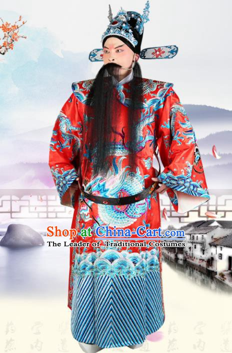 Chinese Beijing Opera Royal Highness Costume Red Embroidered Robe, China Peking Opera Prime Minister Embroidery Gwanbok Clothing