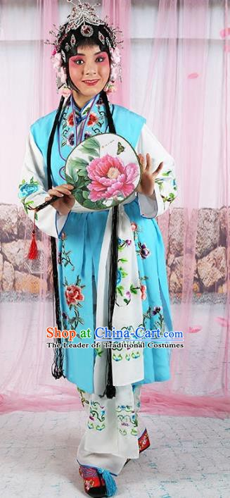 Chinese Beijing Opera Actress Servant Girl Embroidered Costume, China Peking Opera Young Lady Embroidery Clothing