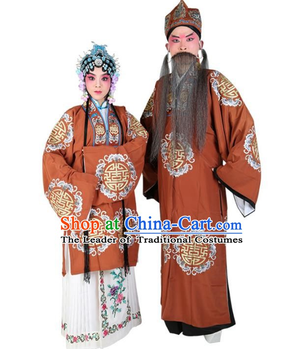 Chinese Beijing Opera Old Men and Women Embroidered Costume, China Peking Opera Ministry Councillor Landlord Shiva Embroidery Clothing