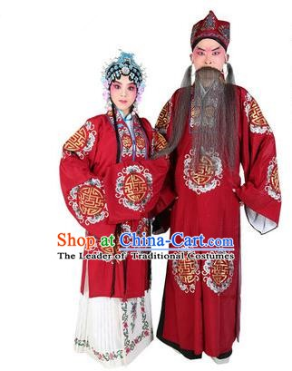 Chinese Beijing Opera Old Men and Women Embroidered Red Costume, China Peking Opera Ministry Councillor Landlord Shiva Embroidery Clothing