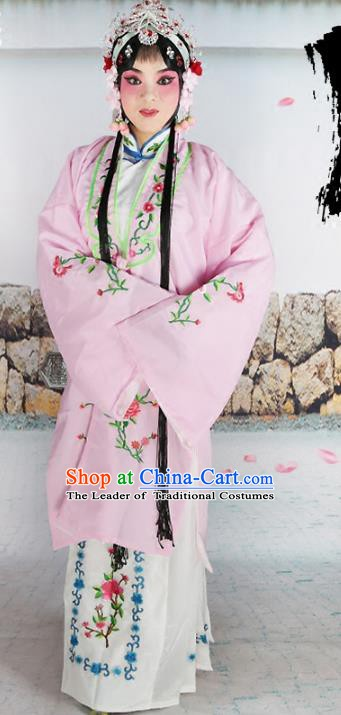 Chinese Beijing Opera Actress Nobility Lady Embroidered Pink Costume, China Peking Opera Diva Embroidery Clothing