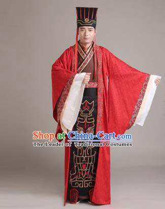 Traditional Chinese Han Dynasty Bridegroom Wedding Costume, China Ancient Minister Hanfu Clothing for Men
