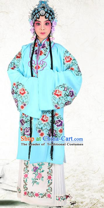 Chinese Beijing Opera Actress Embroidered Peony Flowers Blue Costume, China Peking Opera Diva Embroidery Clothing