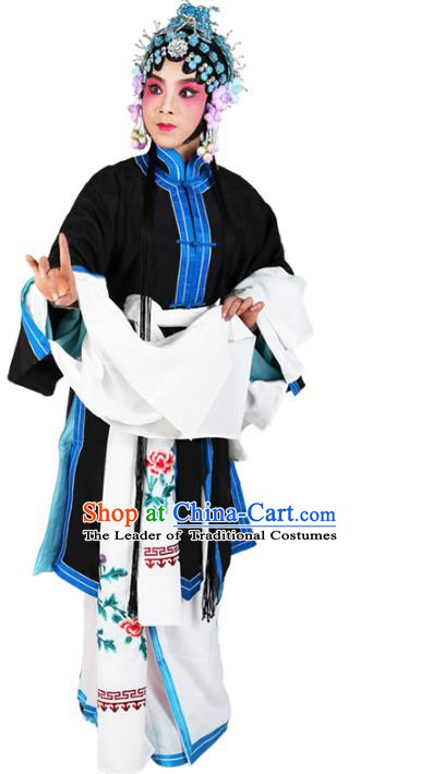 Chinese Beijing Opera Actress Tsingyi Black Costume, China Peking Opera Young Lady Embroidery Clothing