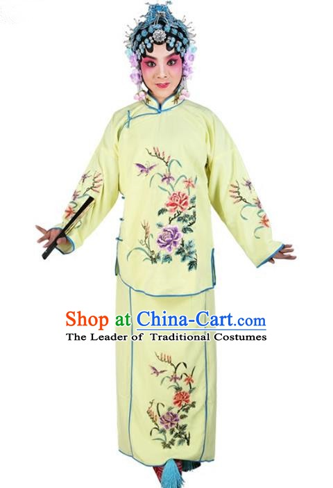 Chinese Beijing Opera Actress Young Lady Embroidered Yellow Costume, China Peking Opera Embroidery Clothing