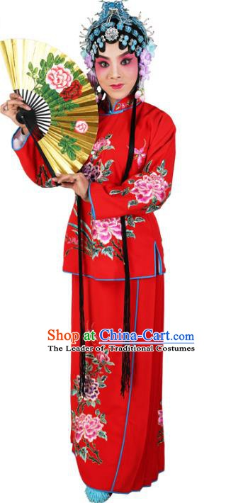 Chinese Beijing Opera Actress Young Lady Embroidered Red Costume, China Peking Opera Embroidery Clothing