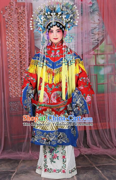 Chinese Beijing Opera Actress Imperial Concubine Embroidered Robe Costume, China Peking Opera Diva Clothing and Phoenix Coronet