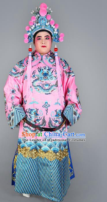 Chinese Beijing Opera Prime Minister Costume Pink Embroidered Robe, China Peking Opera Embroidery Dragon Gwanbok Clothing