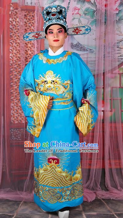 Chinese Beijing Opera Royal Highness Costume Blue Embroidered Robe, China Peking Opera Scholar Embroidery Gwanbok Clothing