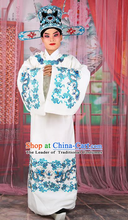 Chinese Beijing Opera Royal Highness Costume White Embroidered Robe, China Peking Opera Scholar Embroidery Gwanbok Clothing