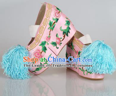 Asian Chinese Beijing Opera Actress Pink Embroidered Shoes, Traditional China Peking Opera Diva Hanfu Blood Stained Shoes