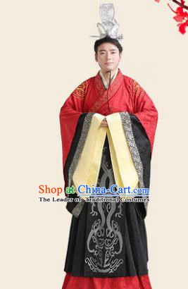 Traditional Chinese Han Dynasty Minister Wedding Costume, China Ancient Bridegroom Embroidered Hanfu Clothing for Men
