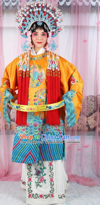 Chinese Beijing Opera Actress Costume Embroidered Robe, China Peking Opera Imperial Concubine Clothing and Phoenix Coronet