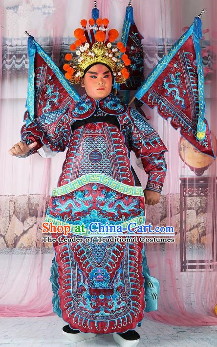 Chinese Beijing Opera General Costume Red Embroidered Robe, China Peking Opera Military Officer Embroidery Gwanbok Clothing