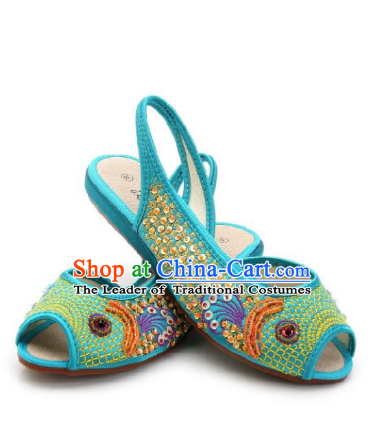 Traditional Chinese National Bride Blue Paillette Embroidered Sandal, China Handmade Embroidery Flowers Peep-toe Shoes for Women