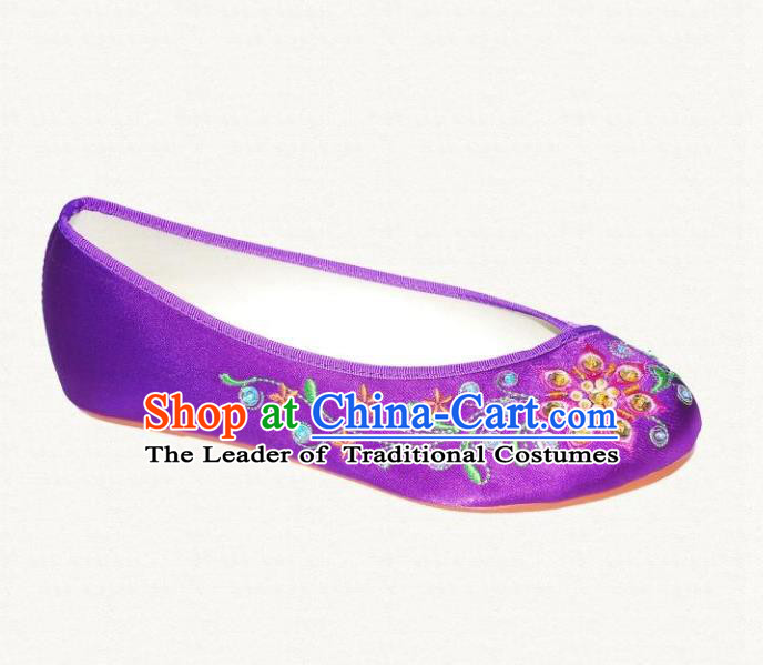 Traditional Chinese National Bride Purple Satin Embroidered Shoes, China Handmade Embroidery Hanfu Cloth Shoes for Women