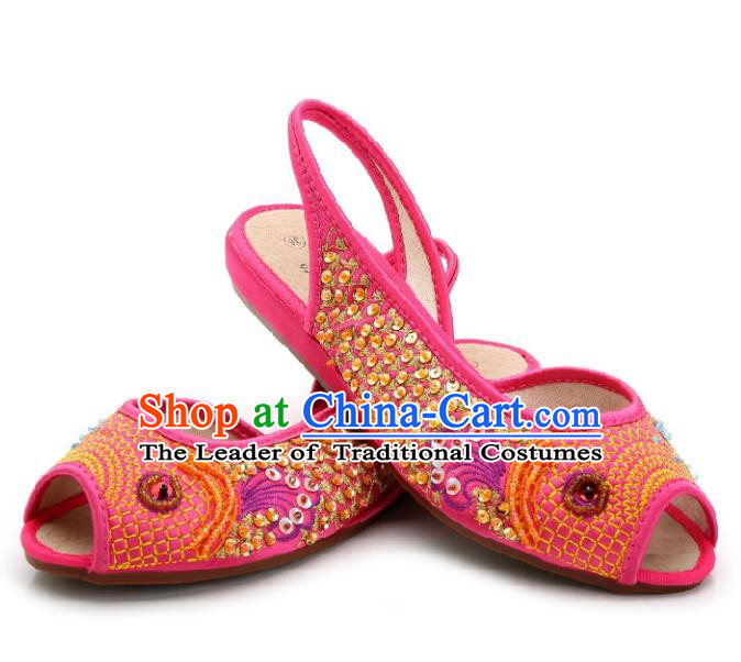 Traditional Chinese National Bride Rosy Paillette Embroidered Sandal, China Handmade Embroidery Flowers Peep-toe Shoes for Women