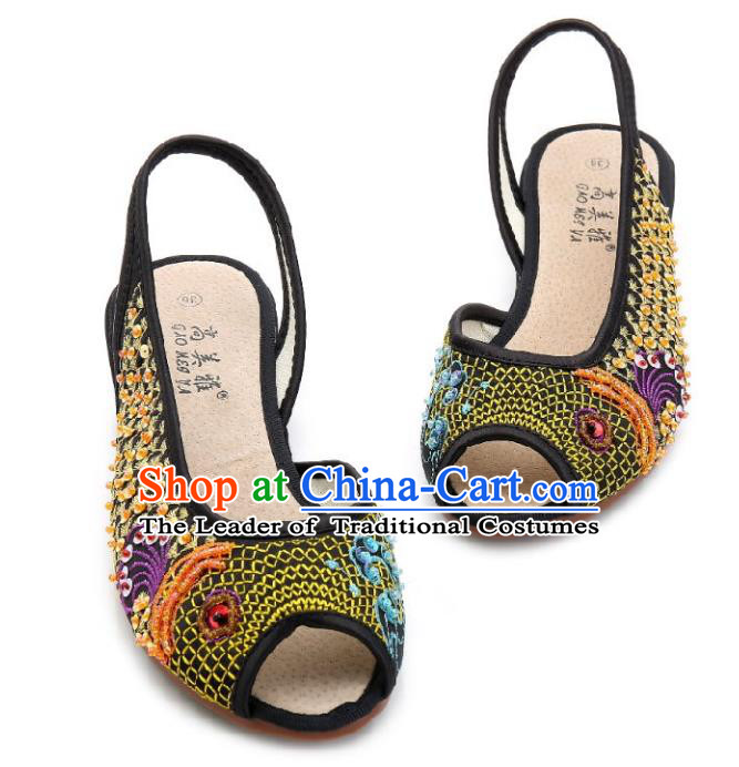 Traditional Chinese National Bride Black Paillette Embroidered Sandal, China Handmade Embroidery Flowers Peep-toe Shoes for Women