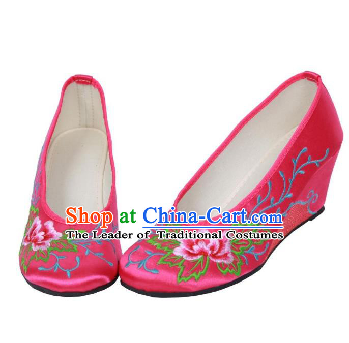 Traditional Chinese National Bride Rosy Embroidered Shoes, China Handmade Embroidery Flowers Wedge-soled Shoes for Women