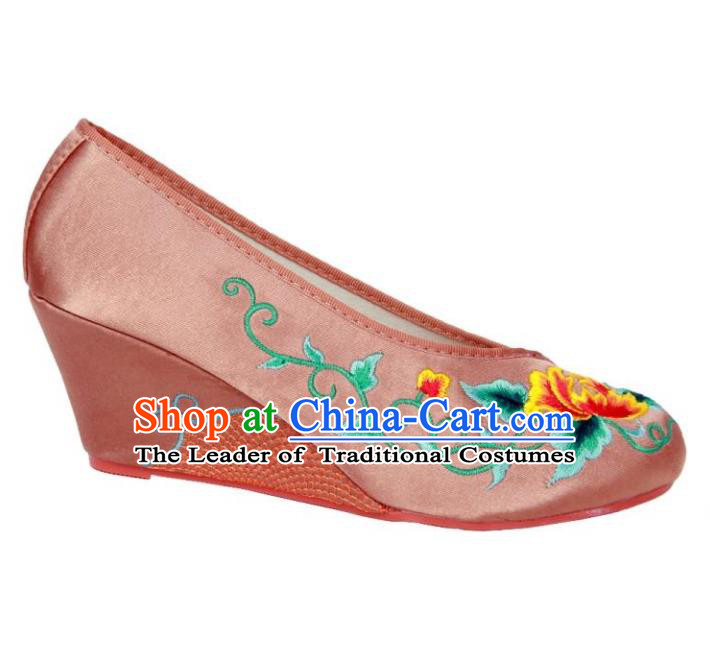 Traditional Chinese National Bride Light Pink Embroidered Shoes, China Handmade Embroidery Flowers Wedge-soled Shoes for Women