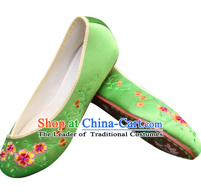 Traditional Chinese National Bride Green Embroidered Shoes, China Handmade Embroidery Flowers Hanfu Shoes for Women