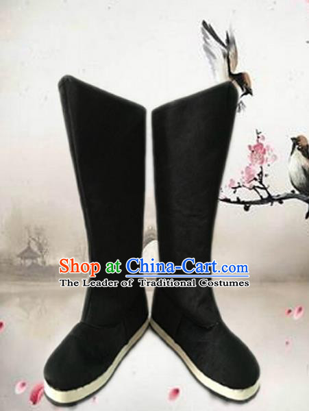 Traditional Handmade Chinese Han Dynasty Minister Boots Hanfu Shoes for Men