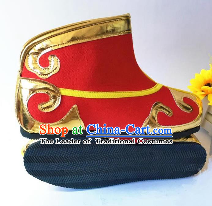 Traditional Handmade Chinese Peking Opera Takefu Red Boots Hanfu Handsome Monkey King Shoes for Men