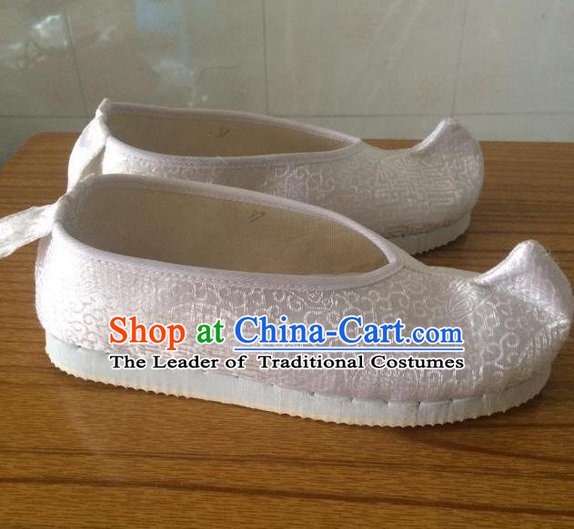 Traditional Chinese Ancient Princess White Satin Embroidered Shoes, China Handmade Hanfu Embroidery Shoes for Women