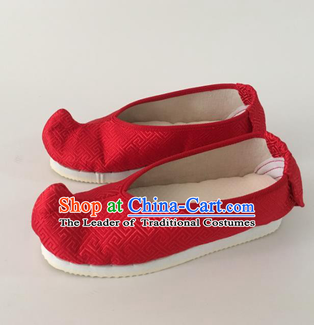 Traditional Chinese Ancient Princess Red Satin Embroidered Shoes, China Handmade Hanfu Embroidery Shoes for Women