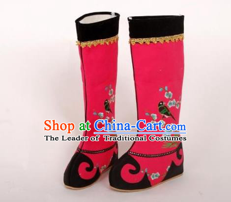 Traditional Chinese Ancient Peking Opera Emperor Embroidered Boots, China Handmade Hanfu Red Embroidery Shoes for Men