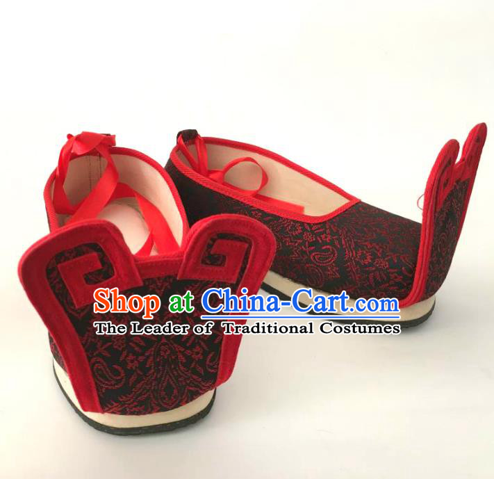 Traditional Chinese Ancient Han Dynasty Bridegroom Black Embroidered Shoes, China Handmade Hanfu Wedding Embroidery Shoes for Men